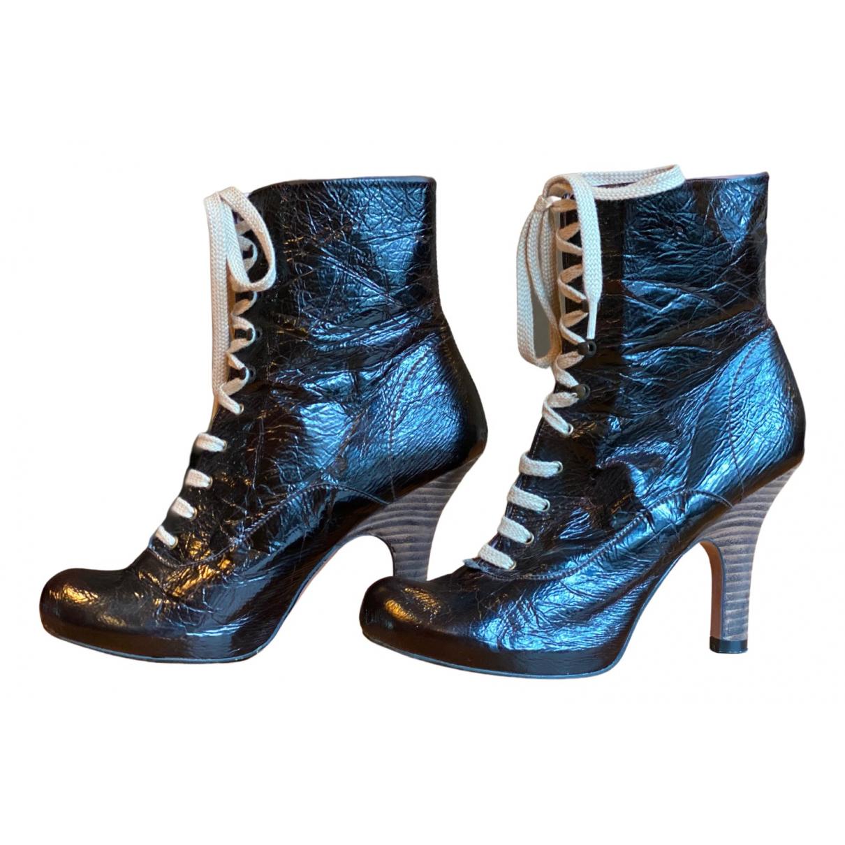 Kurt Geiger - Boots   pour femme en cuir verni - bordeaux