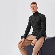 Pullover mit hohem Kragen und halber Knopfleiste
