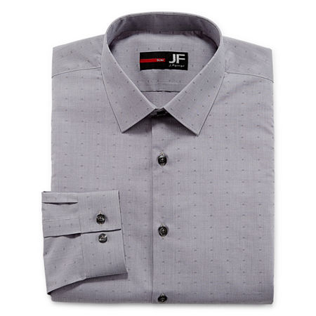 JF J.Ferrar Easy- Care Stretch Mens Long Sleeve Dress Shirt, 15-15.5 32-33, Gray