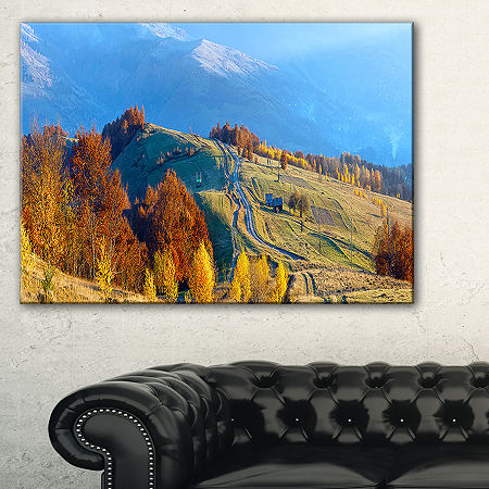 Designart Rural Road On Autumn Mountains Canvas Art, One Size , Brown