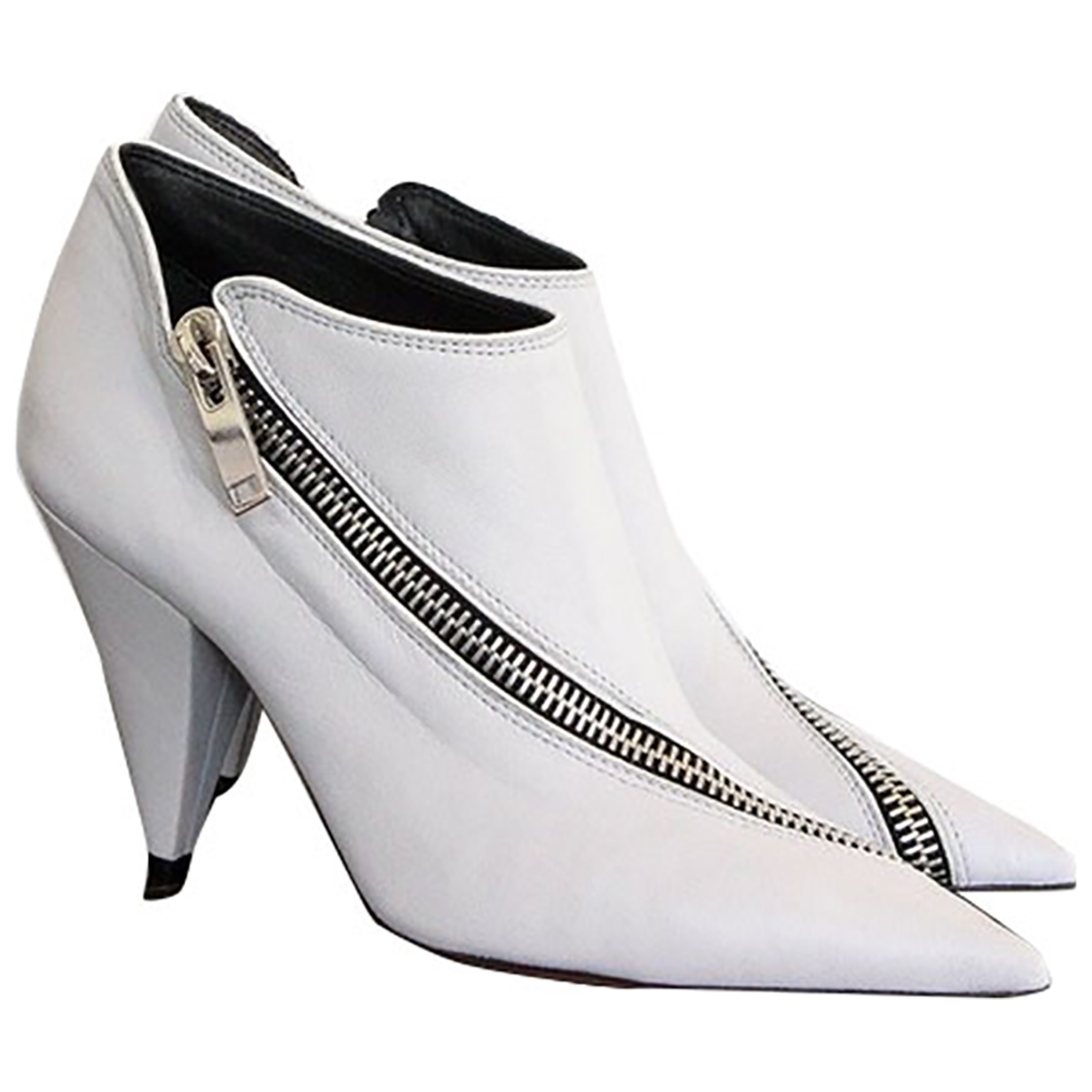 Celine Triangle Heel White Leather Ankle boots for Women 38 EU