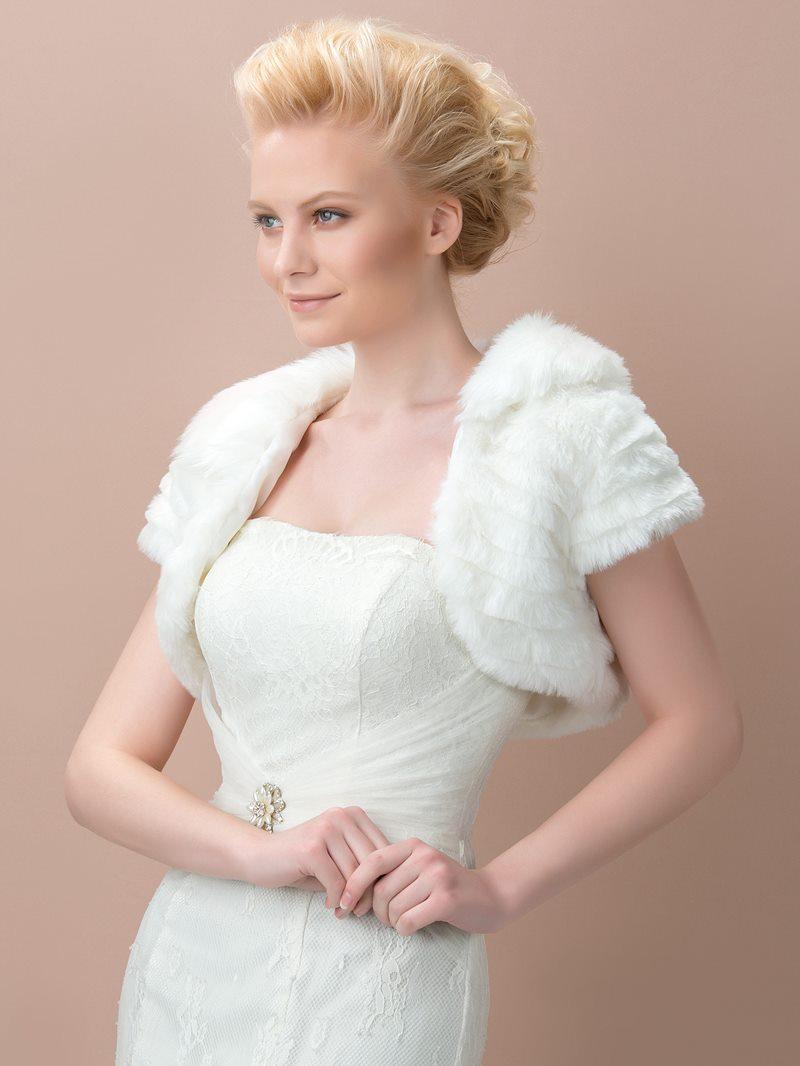 Short Sleeve Ivory Fax Fur Wedding Jacket