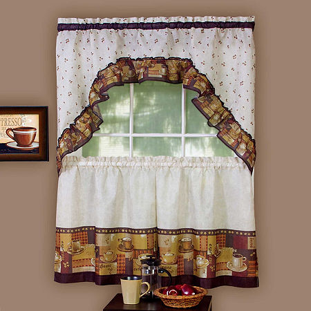 Coffee Print Rod-Pocket Window Tier and Swag Valance Set, One Size , Multiple Colors
