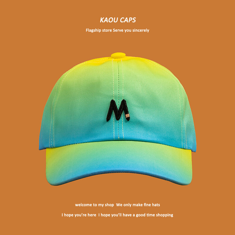 Hat Female Color Gradient M Letter Three-Dimensional Embroidery Baseball Cap Shade Cap