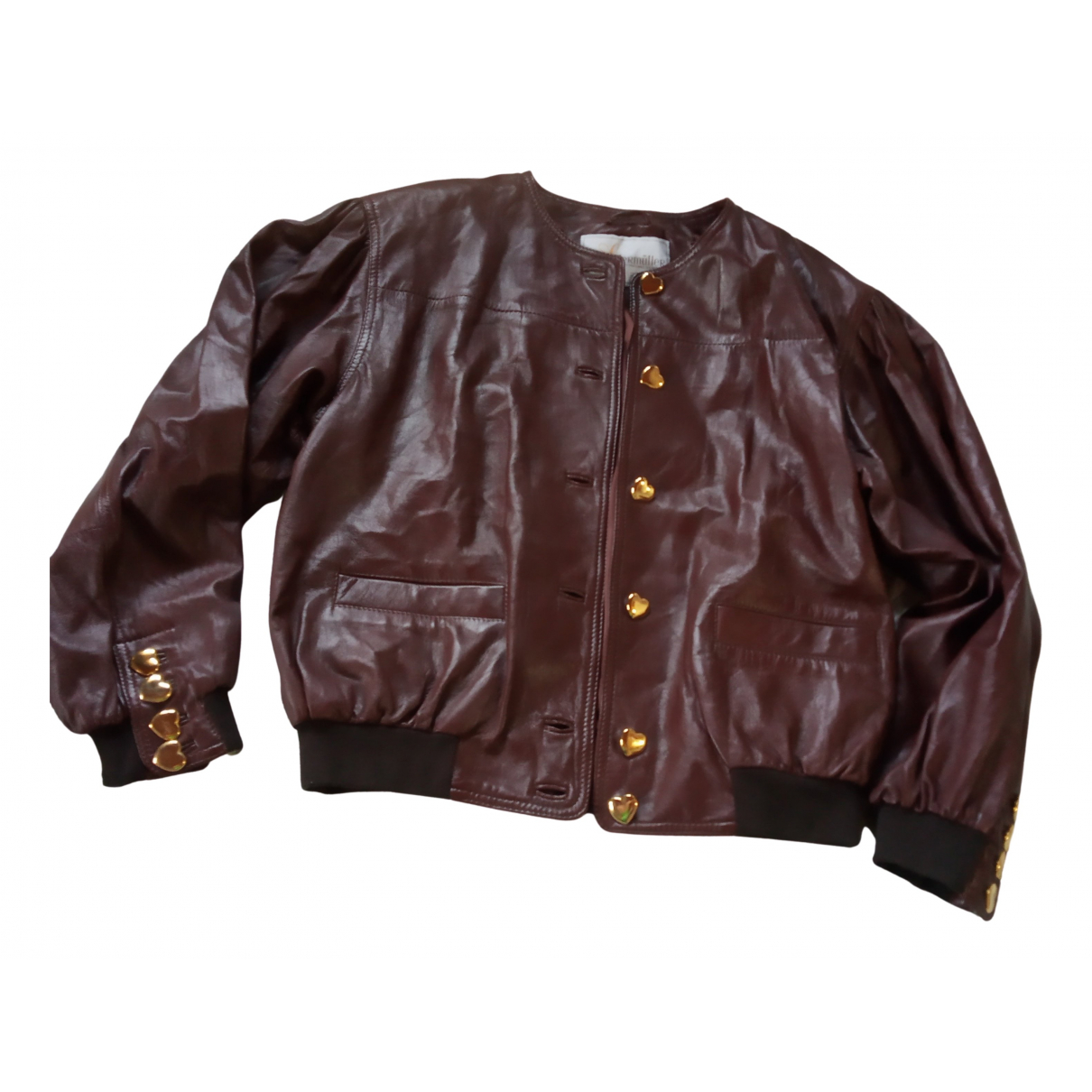 Non Signé / Unsigned N Brown Leather Leather jacket for Women 44 IT