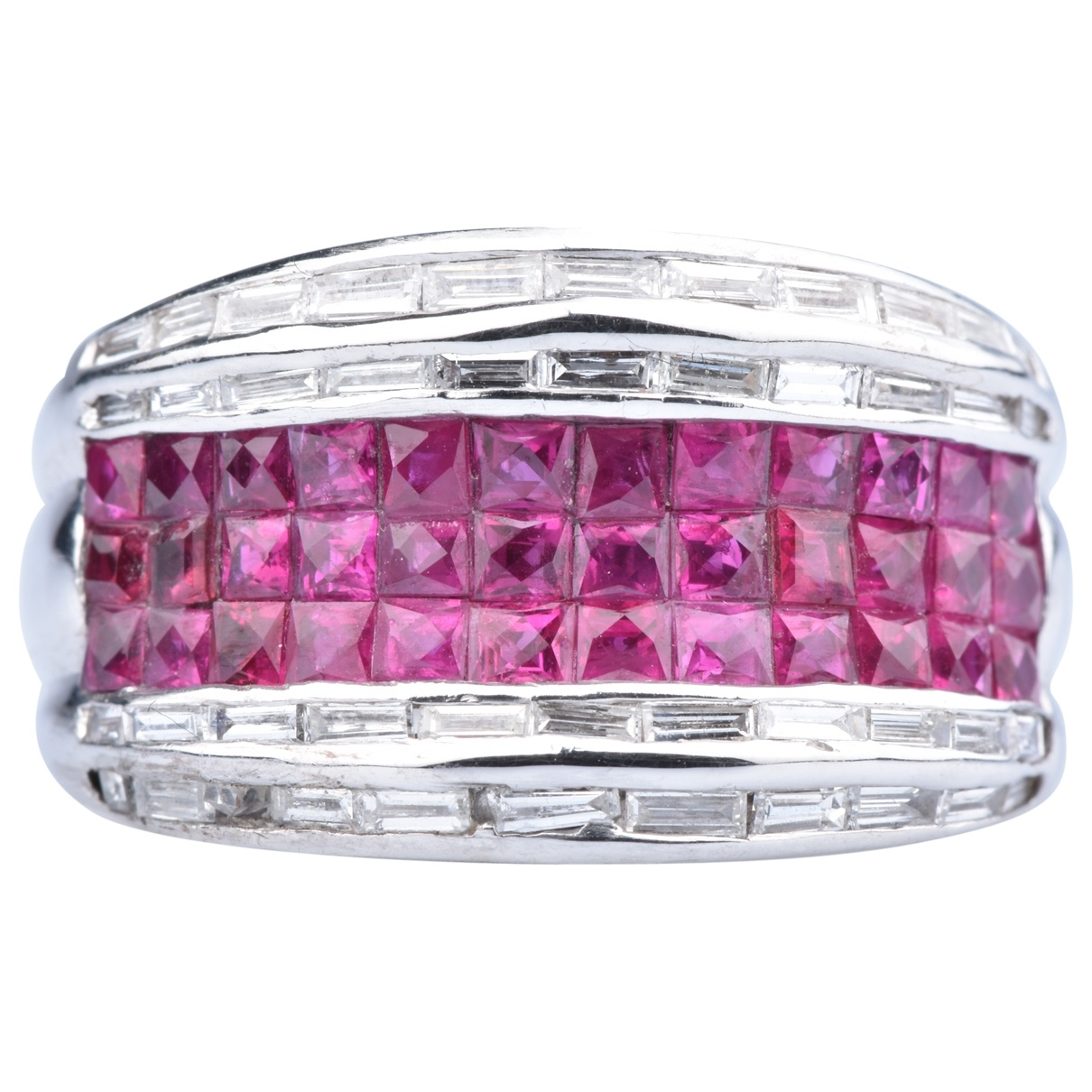 Non Signé / Unsigned Rubis Pink White gold ring for Women 55 MM