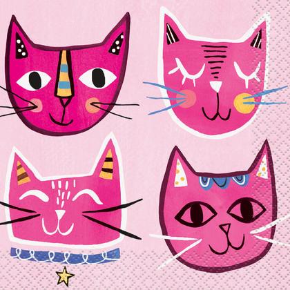Pink Cat Beverage Napkins, 16ct Pour la fête d'anniversaire