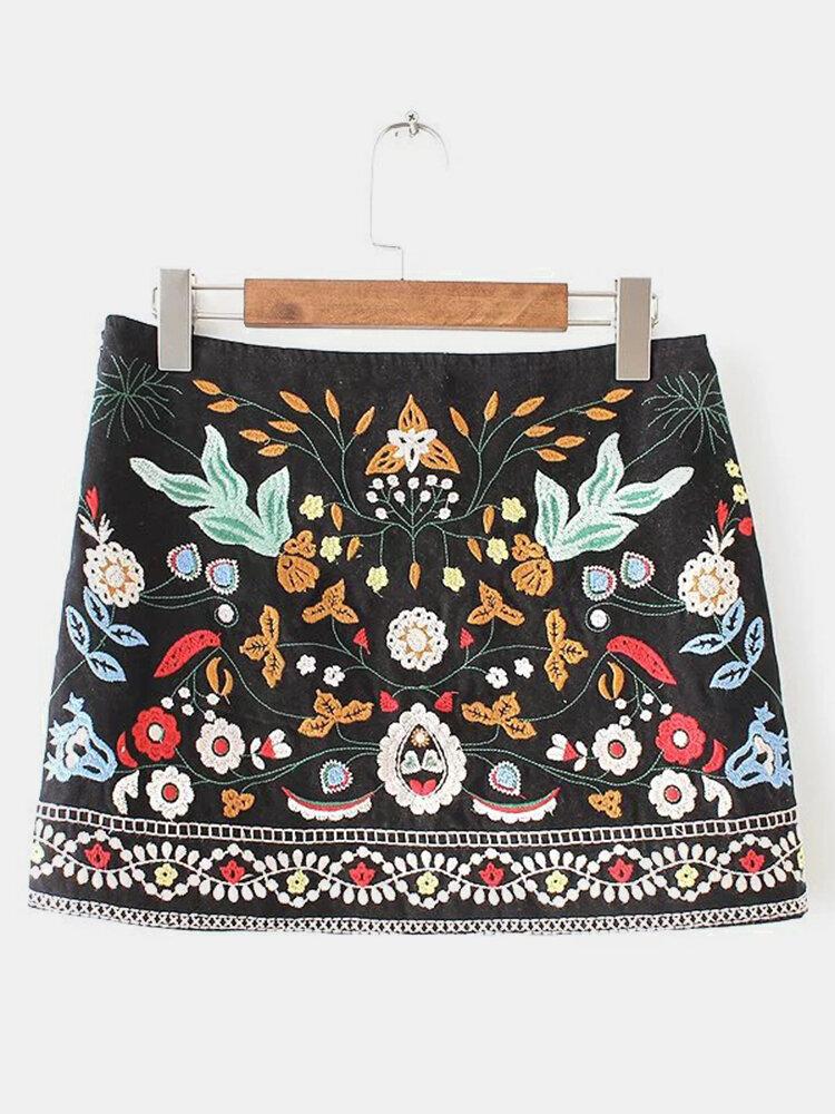 Women Vintage Floral Embroidery A-line High Waist Mini Skirt