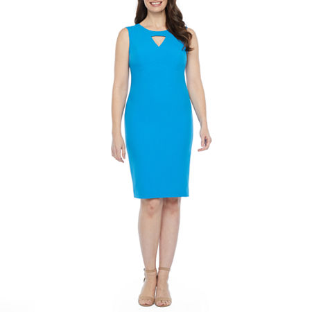 Black Label by Evan-Picone Sleeveless Sheath Dress, 18 , Blue