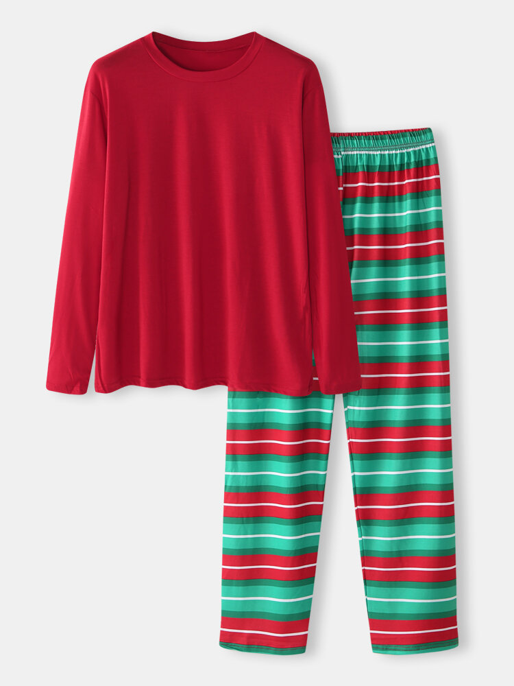 Christmas Style Solid Color O-Neck Long Sleeve & Striped Pant Two Pieces Homewear