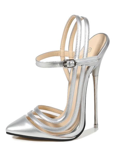 Milanoo Mujeres seductoras sexy tacones altos negro punta puntiaguda tacon de aguja zapatos sexy