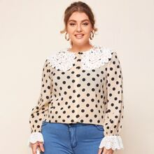 Plus Guipure Lace Collar and Cuff Buttoned Front Polka Dot Blouse