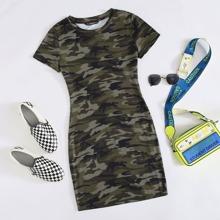 Figurbetontes Kleid mit Camo Muster
