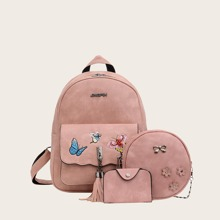3pcs Butterfly Embroidered Backpack Set