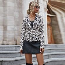 Blazers Boton Leopardo Elegante