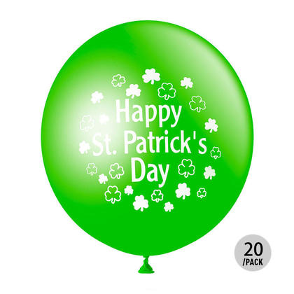 Green Latex Balloons Helium Quality for St. Patrick's Day Decoration, 12