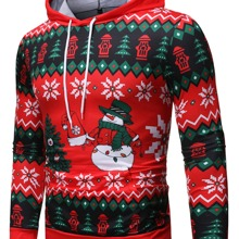 Guys Christmas Print Hooded Sweatshirt