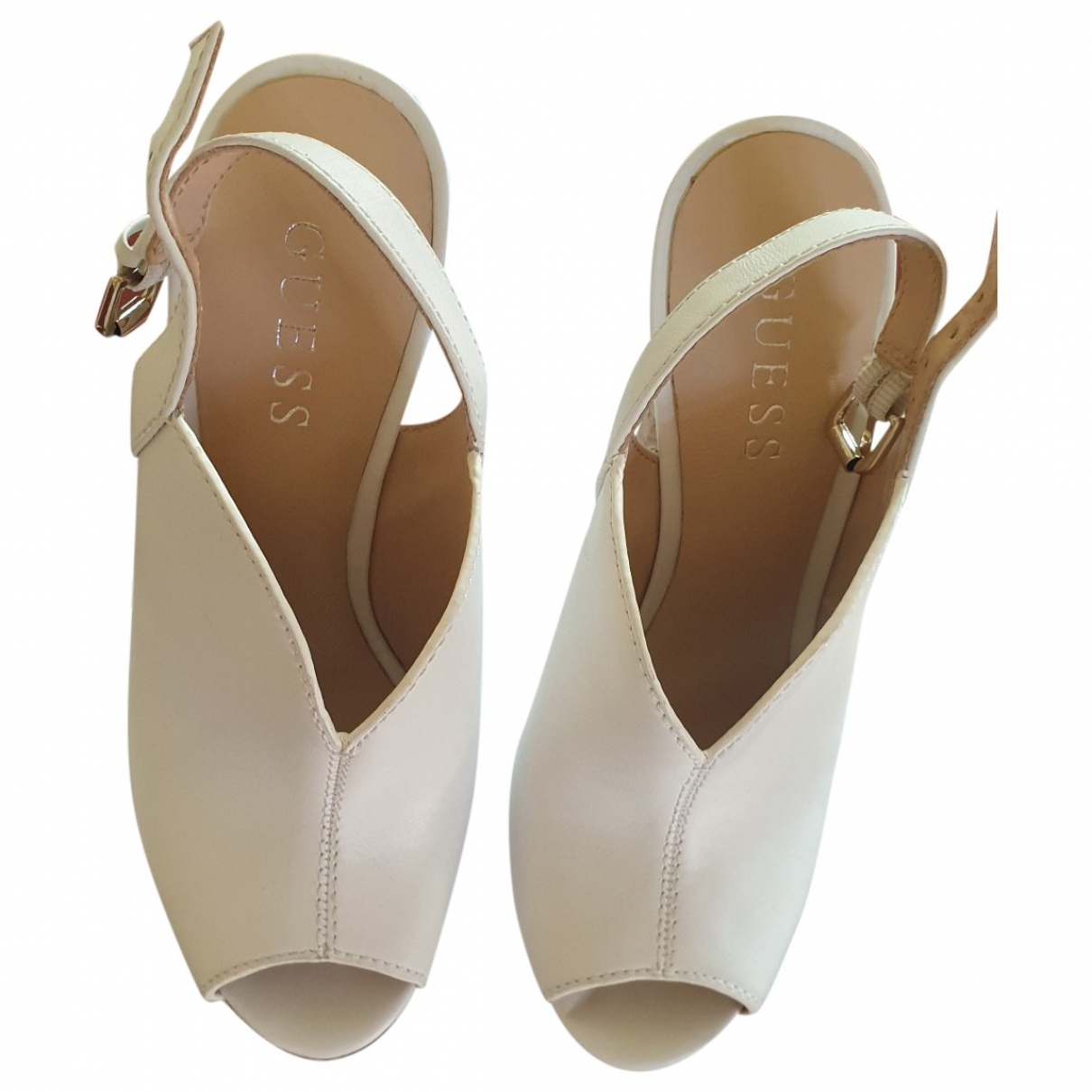Guess \N White Leather Heels for Women 35 EU