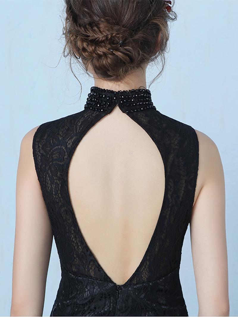 Ericdress Vintage High Neck Beading Lace Split-Front Mermaid Evening Dress