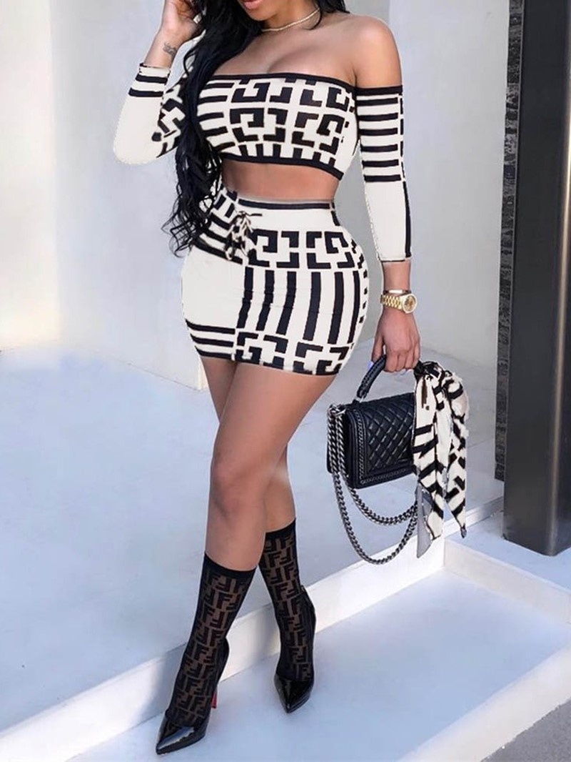 Ericdress Sports Geometric Print Off Shoulder Bodycon Two Piece Sets