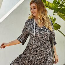 Vestido linea A con cordon con estampado de leopardo - grande