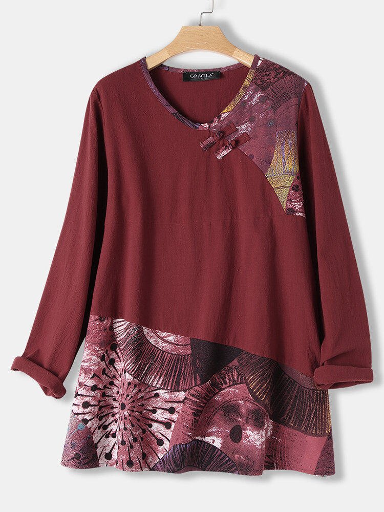 Frog Button Print Patchwork Long Sleeve Blouse For Women