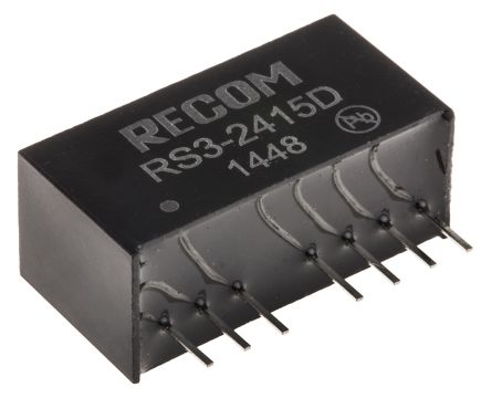 Recom RS3 3W Isolated DC-DC Converter Through Hole, Voltage in 18 → 36 V dc, Voltage out ±15V dc