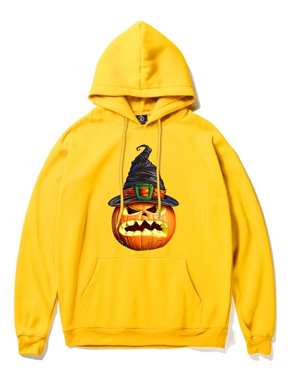 Long Sleeve Halloween Angry Pumpkin 3D Painted Pullover Loose Hoodies For Man and Woman