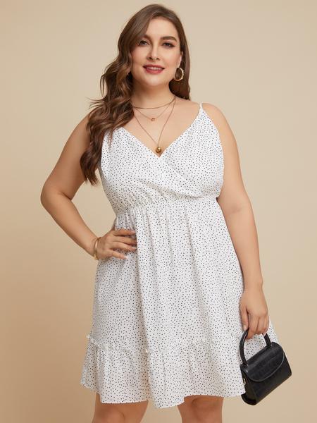 YOINS Plus Size White Backless Design Polka Dot V-neck Sleeveless Dress