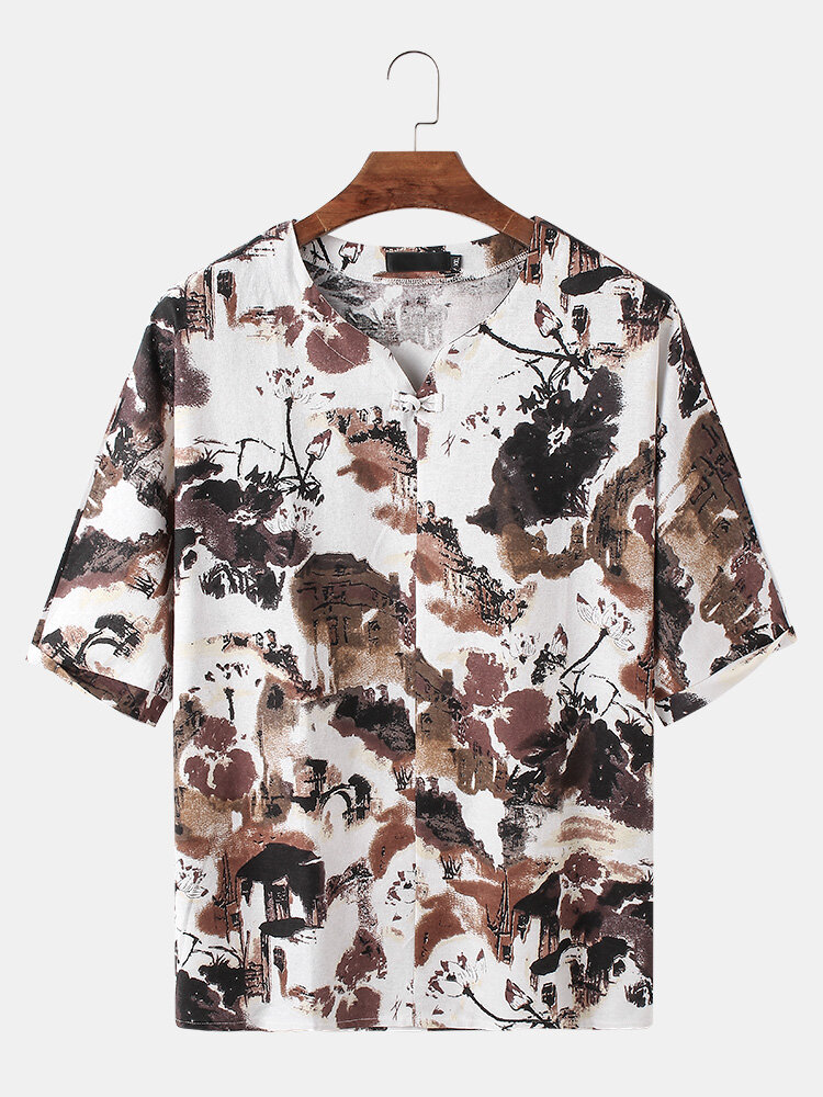 Mens Cotton Allover Abstract Print Loose Thin Short Sleeve T-Shirts
