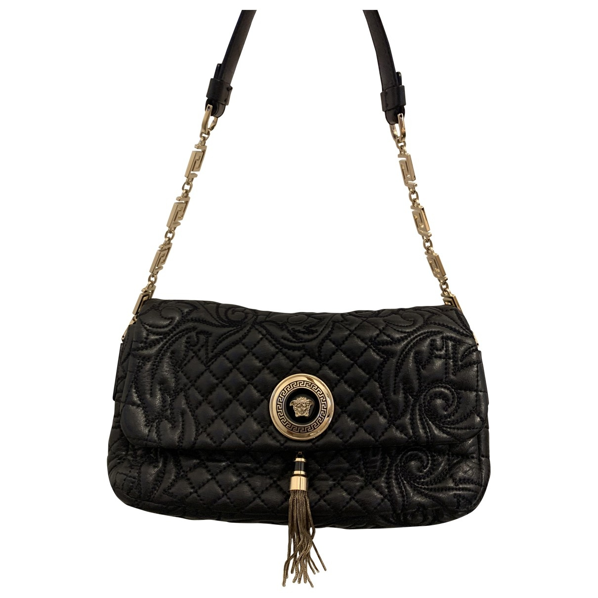 Versace \N Handtasche in  Schwarz Leder