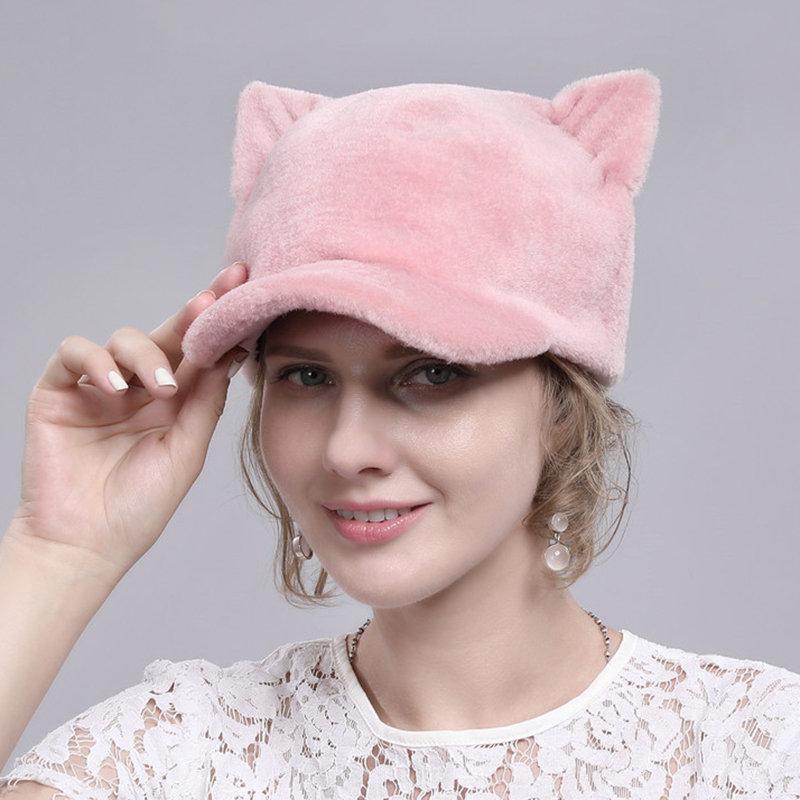 Women Warm Cute Cat Ears Sheep Sheared Fur Cap Outdoor Casual Windproof Duck Cap