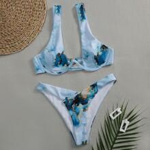 Bañador bikini cortado alto con aro