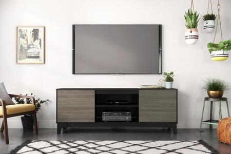 402322 Nexera Rhapsody TV Stand with 2 Convenient Doors with Shelf Space Inside  in Bark Grey Laminate And Black