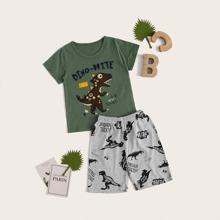 Kleinkind Jungen Schlafanzug Set mit Dinosaurier Muster