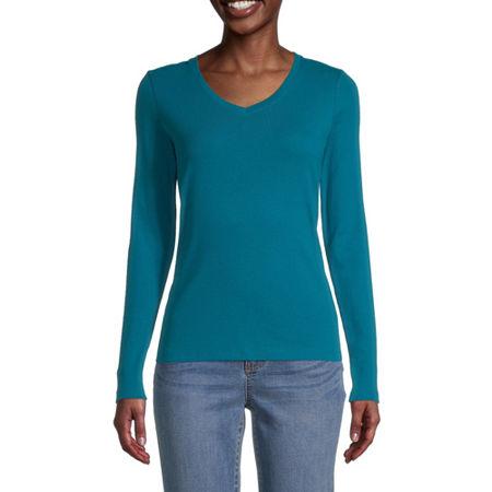 St. John's Bay-Womens Scoop Neck Long Sleeve T-Shirt, Xx-large , Blue