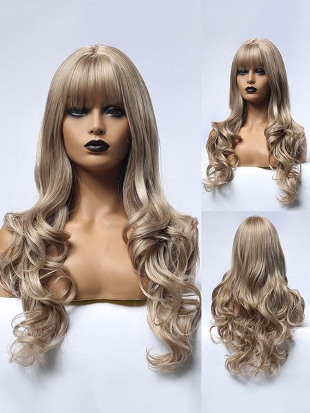 Milanoo Peluca larga para mujer Marron claro Body Wave Rayon Classic despeinado pelucas sinteticas largas