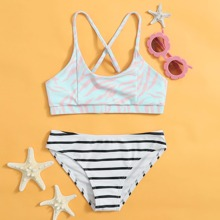 Girls Zebra Striped Bikini Swimsuit