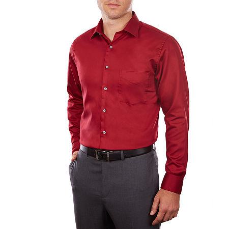 Van Heusen Lux Sateen Stretch Long Sleeve Dress Shirt, 17 32-33, Red