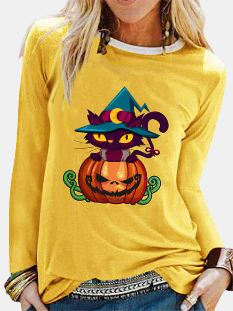 Halloween Printed Long Sleeve O-neck T-shirt For Women
