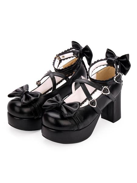 Milanoo Sweet Lolita Shoes Bow Strappy Platform Chunky Heel PU Burgundy Lolita Footwear