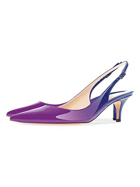 Milanoo Women Slingback Pumps Purple Ombre Mid Low Heel Women Casual Shoes
