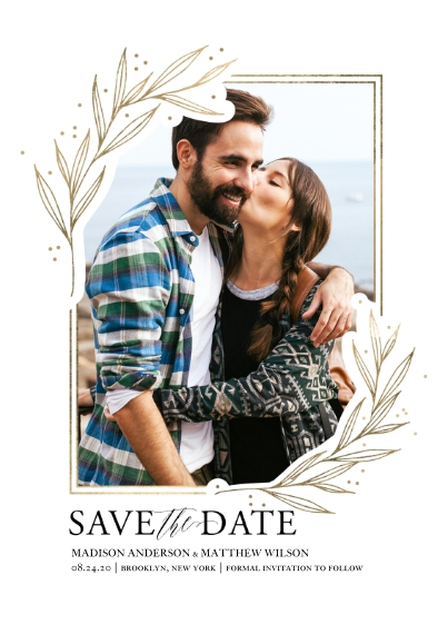 Save the Date Flat Matte Photo Paper Cards with Envelopes, 5x7, Card & Stationery -Wedding Save the Date Gold Leaf Border by Tumbalina