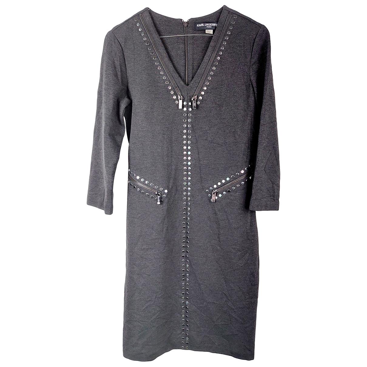 Karl Lagerfeld \N Kleid in  Grau Synthetik