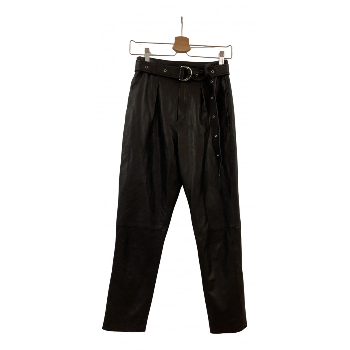 Iro N Black Leather Trousers for Women 34 FR