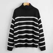 Striped Turtleneck Drop Shoulder Sweater