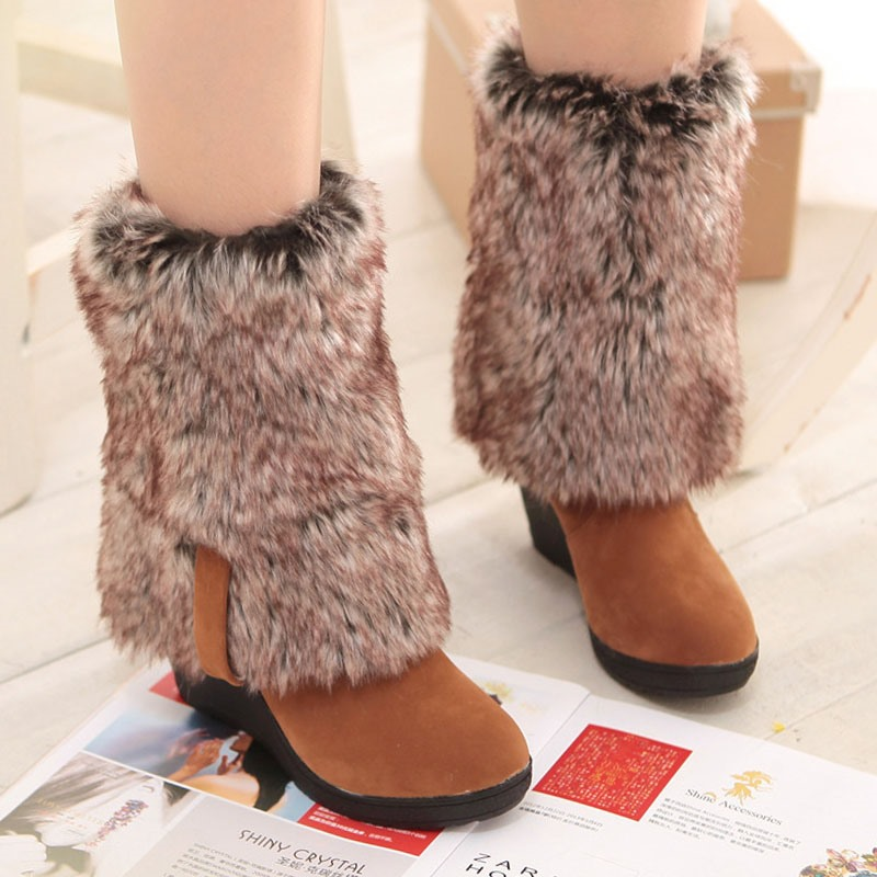 Ericdress Round Toe Plain Wedge Heel Casual Boots