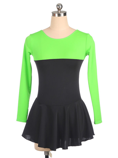 Milanoo Skating Dress Rose Polyester Long Sleeves Two-Tone Dance Costumes