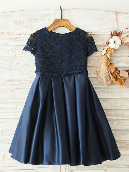 Milanoo Flower Girl Dresses Bows Short Sleeves Jewel Neck Dark Navy Kids Party Dresses