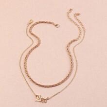 2 piezas collar con diseño de letra